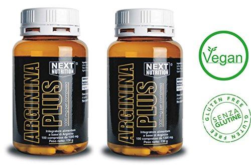2 confezioni Arginina Plus 100 compresse 130 gr Next Nutrition 1000 mg per compressa,Amminoacido essenziale, incrementa la crescita muscolare e la forza, innalza i livelli di ossido nitrico, favorisce la sintesi delle proteine
