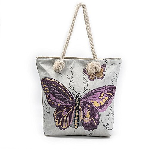 ParaCity Women Beach Tote Canvas Shoulder Bag Anchor Summer Handbag Top Handle Bag Straw Beach Bag Shopping Bag with Cotton Rope Handle (Butterfly Purple)
