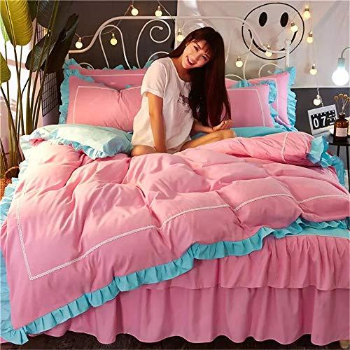 L&SH Bed Rock Typ Twill Doppellagiger, Vierteiliger Anzug, Mode Prinzessin Serie Bettwäscheset, Bequem Und Atmungsaktiv, Einschließlich Bettbezug + Bett Rock + Kissenbezug * 2 (3,2.0 Bett) -