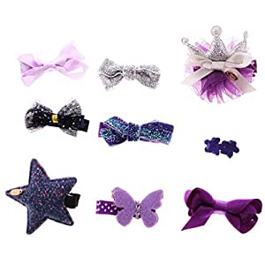 Segolike Newborn Baby Girl Lovely Hair Bow Mixed Design 9/10 Pieces Toddler Hair Barretes Set - purple