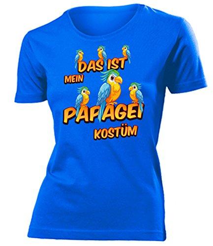 Papagei Kostüm Kleidung 1935 Damen T-Shirt Frauen Karneval Fasching Faschingskostüm Karnevalskostüm Paarkostüm Gruppenkostüm Blau (Papagei Kostüm Ideen)