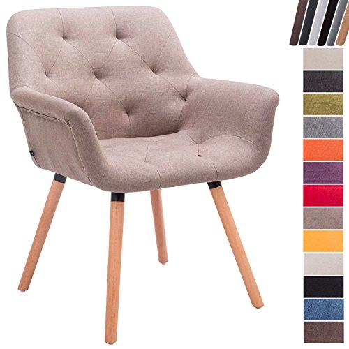 CLP Esszimmerstuhl CASSIDY mit Stoffbezug und sesselförmigem gepolstertem Sitz | Retro-Stuhl mit Armlehne und einer Sitzhöhe von 45 cm | Bis zu 150 kg belastbarer Polsterstuhl taupe, Gestellfarbe: Natura