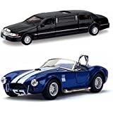 Playking Kinsmart Combo Of 1999 Lincoln Town Car Stretch Limousine And Shelby Cobra 427 3/C 1:32 Scale Model 5'' Die Cast Metal, Doors Openable And Pull Back Action Car (Color May Vary)