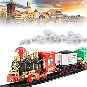 TECHTOY Vintage Classic Train with Big Track and Real Smoke,Light and Sound Battery Operated with Flashlight (Multicolour)