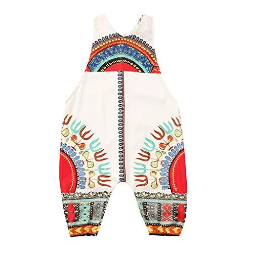 Julhold Kleinkind Kind Baby Mädchen Mode Lässig Afrikanischer Druck Ärmellos Strampler Haarband Overall Kleidung 0-4 Jahre (Kleidung Afrikanische Mode)
