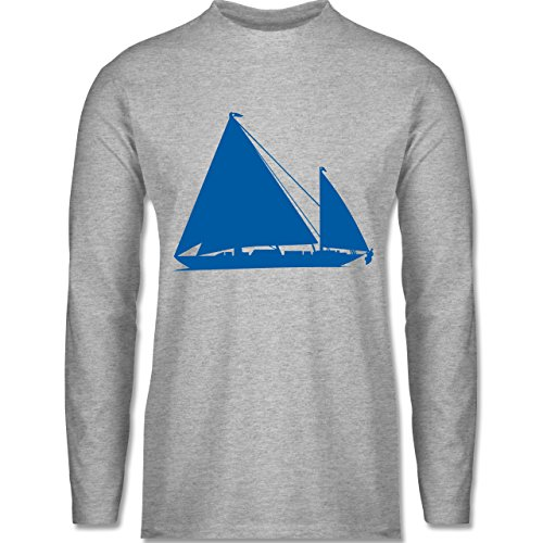 Schiffe - Segelboot - Longsleeve / langärmeliges T-Shirt für Herren Grau Meliert
