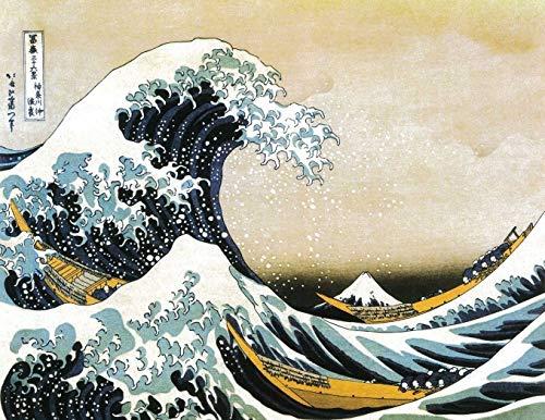 The great wave of Kanagawa - veredeltes Poster auf Holz - Wandbild - 35x27 cm -