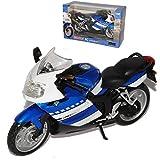 B-M-W K1200S Blau Weiss 2005-2009 1/12 Automaxx Modell Motorrad mit individiuellem Wunschkennzeichen