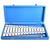 CAHAYA Glockenspiel Xylophone Educational Enlighten Rhythm Music Instrument Piano 15 Tones Aluminum with Two Wooden Mallets in Blue Box for Baby Children ¡