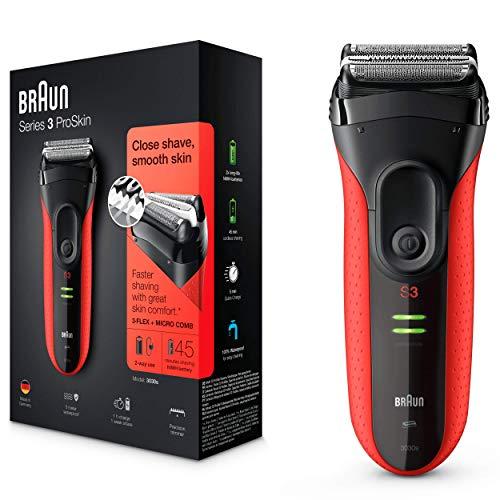 Braun Series 3 ProSkin 3030 S - Afeitadora eléctrica hombre, par barba, recargable, color rojo