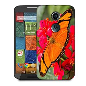Snoogg Big Orange Butterfly Designer Protective Phone Back Case Cover For Moto X 2nd Generation