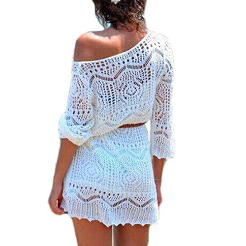 Hand Crochet-kleid (Casual Damen Kleider Crochet Strick Hohle-Heraus Bikini Vertuschen Bademode Strandkleid,Keine Gürtel (M, Weiß))