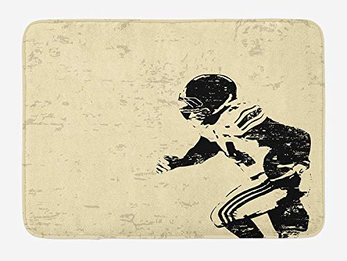 OQUYCZ Sports Bath Mat, Rugby Player in Action Running Success in Arena Playground Sport Best Team Picture, Plush Bathroom Decor Mat with Non Slip Backing, 23.6 W X 15.7 W Inches, Beige Black -