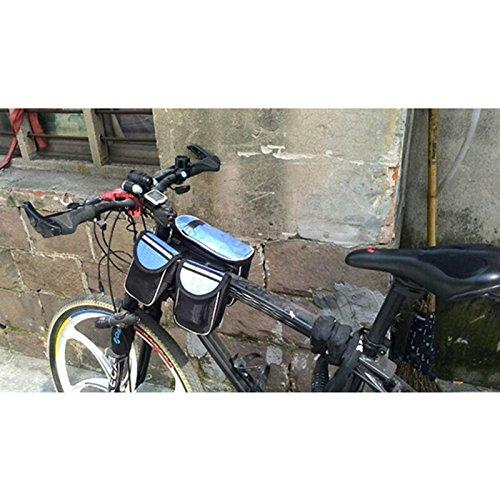 MING 3in 1Seeschwalbe Fahrrad vorne Top Tube Gepäckträgertasche mit Handy Tasche Wasserdicht (schwarz, rot, blau) Blau - blau