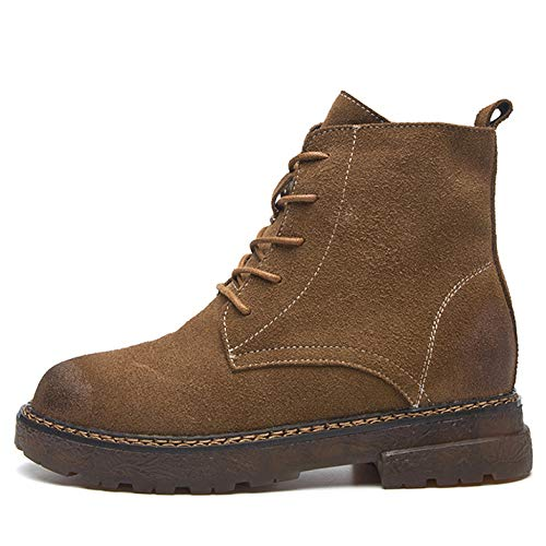 YR-R Frauen-Weinlese-Martin Boots-Runde Zehe-Flache Schuhe Schnürschuh Motorradstiefel Für Damen Outdoor Wandern Wüste Stiefeletten Schuhe,Brown-38