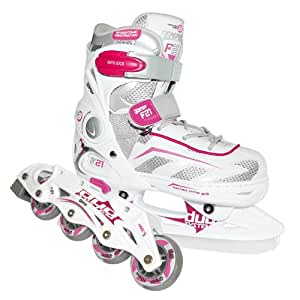 Rollers/Patins à glace TEMPISH F21 duo extensible taille S (pointure 29 à 32), couleur blanc/rose