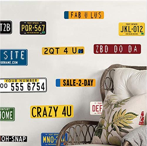 Adesivo murale camera letto american retro style car plate wall sticker per soggiorno adesivo camera da letto decor decor poster murale decorazione del partito