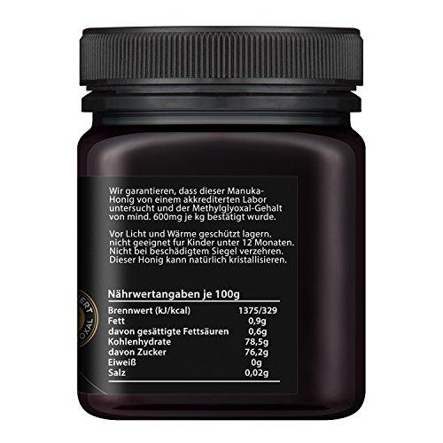 Watson & Son zertifizierter Manuka-Honig MGO 600+ (250g) - Premium Qualität, reines Naturprodukt mit kontrolliertem Methylglyoxal-Gehalt, Direktimport aus Neuseeland