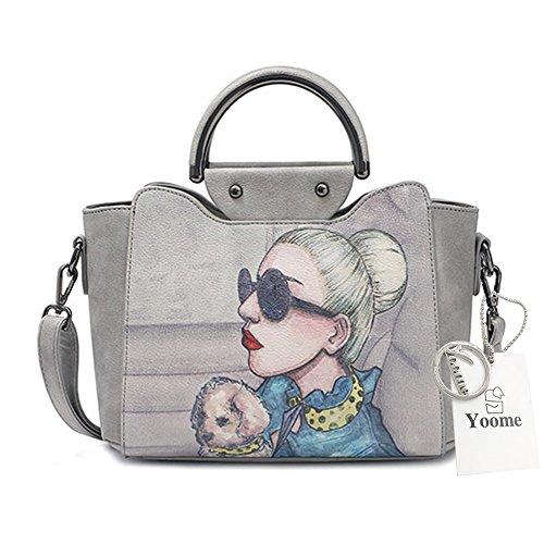 Yoome Print Stylish Taschen Für Frauen Top Handle Bag Vegan Leder New Chic Taschen Crossbody - Grau Grau