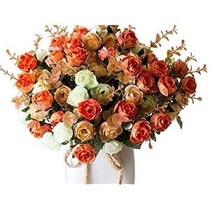 LumenTY Ramo de rosas artificiales de seda cada pack tiene 7 ramas con 21 flores falsa ideal para bodas /fiestas/cocinas y decoración del hogar