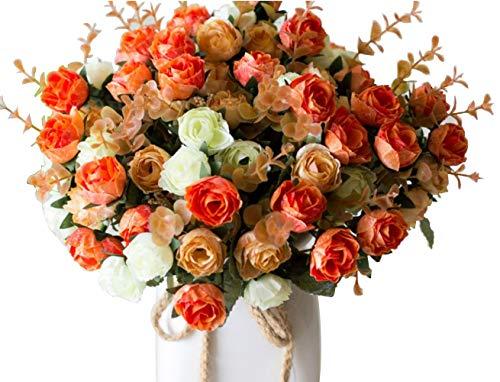Lumenty confezione 2 mazzi di rose in seta artificiale mazzi di fiori finti regali festa nuziale cucina decorazione casa ogni mazzo ha 7 rami con 21 boccioli di fiori finti piante vintage champagne