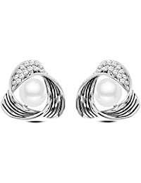 Young & Forever White Silver-Plated Pearl Studs Earrings for Women