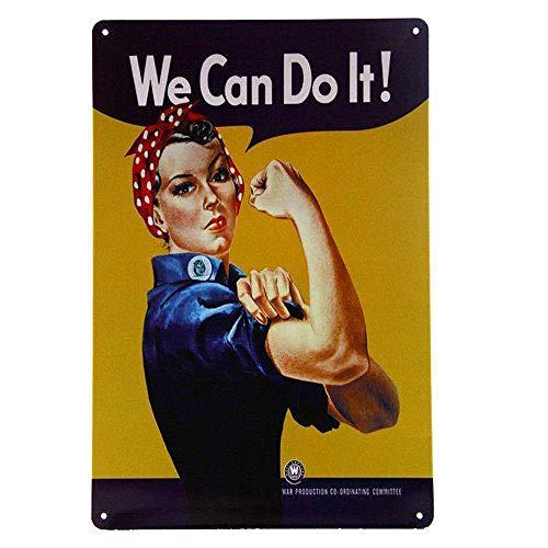 We Can Do It Girl Lámina Metal Retro Bodega Bodega