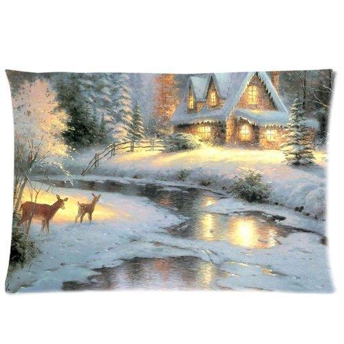 Thomas Kinkade Deer Creek Cottage Pillowcases Cushion Cover Two Sides Deer Creek Cottage