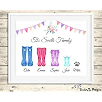Personalised Wellington Boots Family Watercolour A4 Framed Premium Print Picture Welly Art - Design 2