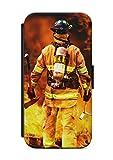 aina Samsung Galaxy S6 Edge Flipcase Tasche mit Magnetverschluss aufklappbar mit Standfunktion Feuer Feuerwehrmann V2