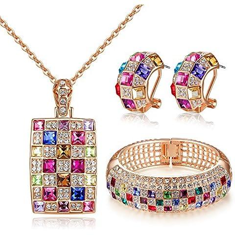 GoSparking Multi -Coloured cristallo 18K Rosa ha placcato il pendente in lega e orecchini set con il cristallo austriaco per le donne