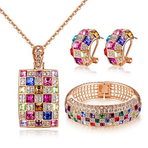 GoSparking multicolor cristalino del oro de 18K Rose plateó el colgante y los pendientes fijó con el cristal austríaco para las mujeres