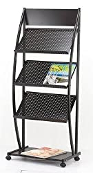 Dreamworld Gemini 3-Tray Magazine Display Stand or Newspaper Stand (Organizer Rack) Mt 12, 12 Trays, Black