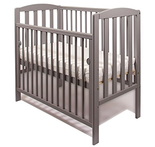 NEW WOOD LITTLE BABES TOBIE COT COMPACT MINI SPACE SAVER BABY BED (Grey) GS Direct This Tobie Space Saver Cot is Perfect for Small Room. Three Position Base Adjustment, Slatted Ends And Rounded Side Dowels With one Drop Side. Suitable From Birth to 3 years babes. Solid Wood Structure in black colour, With Teething Rails. 2
