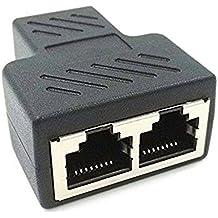 NEXTANY RJ45- Adaptador divisor 1hembra a 2Dual Puerto, adaptador de conector Cat 5 / CAT 6,LAN y Ethernet