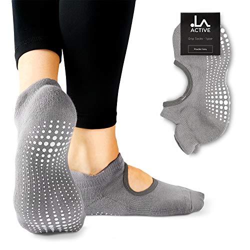 LA Active Calcetines Antideslizantes - Para Yoga Pilates Ballet Barre Mujer Hombre - Ballet (Gris, 37-40 EU)