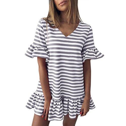 Anglewolf Fashion Womens Butterfly Sleeve V-Neck Stripe Print Ruffles Short Mini Dress Ladies Summer Sexy Casual Loose Mini Dress Short Sleeve Striped Sundress