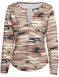 a03d4225d90db Primavera y Otoño Mujeres Tops Joven Moda Cuello V Camisetas de Manga Larga  Jumpers Tees Casual