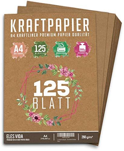 125 Blatt Kraftpapier A4 Set - 260 g - 21 x 29,7 cm - DIN Format - Bastelpapier & Naturkarton Pappe Blätter aus Kraftkarton zum Drucken, Kartonpapier Basteln für Vintage Hochzeit Geschenke Etiketten