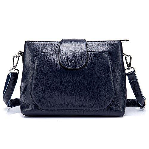 Mefly La Nuova Pelle Multistrato Spalla Borsa Messenger Bag Claret Navy Blue