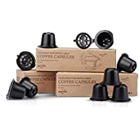 RECAPS Capsules réutilisables sans BPA dosettes Rechargeables Compatible avec Machines Nespresso Original. Pack 9 Capsules Noires. Brosse et cuillère en Plastique Inclus