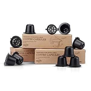 RECAPS Coppe per filtri compatibili con capsula riutilizzabile Capsule per caffè BPA riutilizzabili 200 volte compatibili con macchine per linee originali Nespresso 9 Confezione - Nero (pennello e cucchiaio gratis)