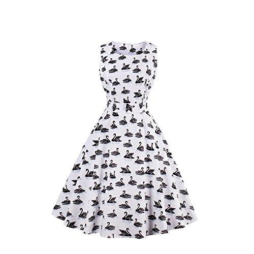 iShine elegant Rockabilly Kleider Damen 50er Jahre Retro Kleider Ärmellos Sommerkleid Audrey Hepburn Partykleider Cocktailkleid Knielang Weiß
