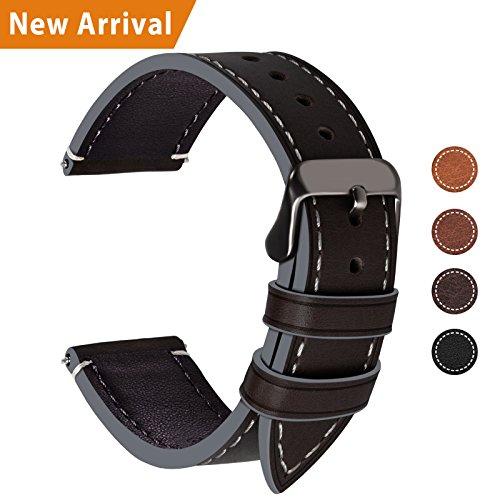 Fullmosa Ersatz Armbänder für Uhr in 4 Farben, Wax Series Echtes Leder Uhrenarmband/Wactch Armband/Replacement für 20mm,Kaffeebraun + Rauchgraue Schnalle