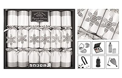 "Exquisite Collection Box of 6 Premium Silver Snowflake Christmas Crackers 13.5"" Wide"
