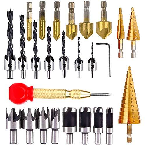 Lamptop 26 Stück Holzbearbeitungswerkzeuge, inklusive 6 Senkbohrer, 7 dreisitziger Bohrer mit L-Schraubenschlüssel, 8 Holzstopfenschneider, 3 Stufenbohrer und Automatik für Holz DIY Bohrlöcher