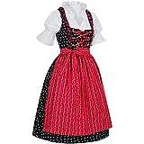 PAULGOS Dirndl Set 3 Teilig Emma, Trachtenkleid, Dirndl Bluse, passende Schürze, Damen Größe:42, Farbe:Schwarz - Rot