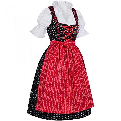 PAULGOS Dirndl Set 3 Teilig Emma, Trachtenkleid, Dirndl Bluse, passende Schürze, verschiedene Farben, Damen Größe:50, Farbe:Schwarz - Rot