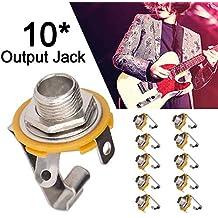 Welltobuy 10 unids Guitarra Eléctrica Bajo Salida Jack Conector de Instrumento Musical Enchufe Cable Jack