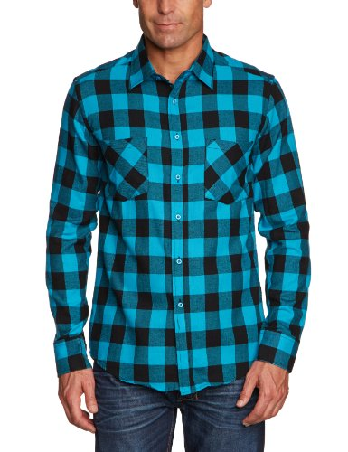 Urban Classics TB297 Herren Regular Fit Freizeit Hemd Checked Flanell Shirt, Blk/Tur, M, TB297 (Flanell Klassisches Hemd)